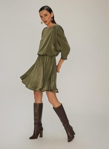 NGSTYLE Kol Detaylı Jakarlı Elbise Haki